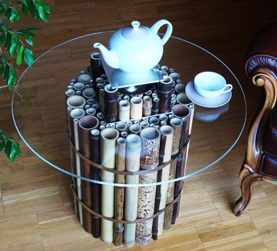 desain meja bambu dan kaca