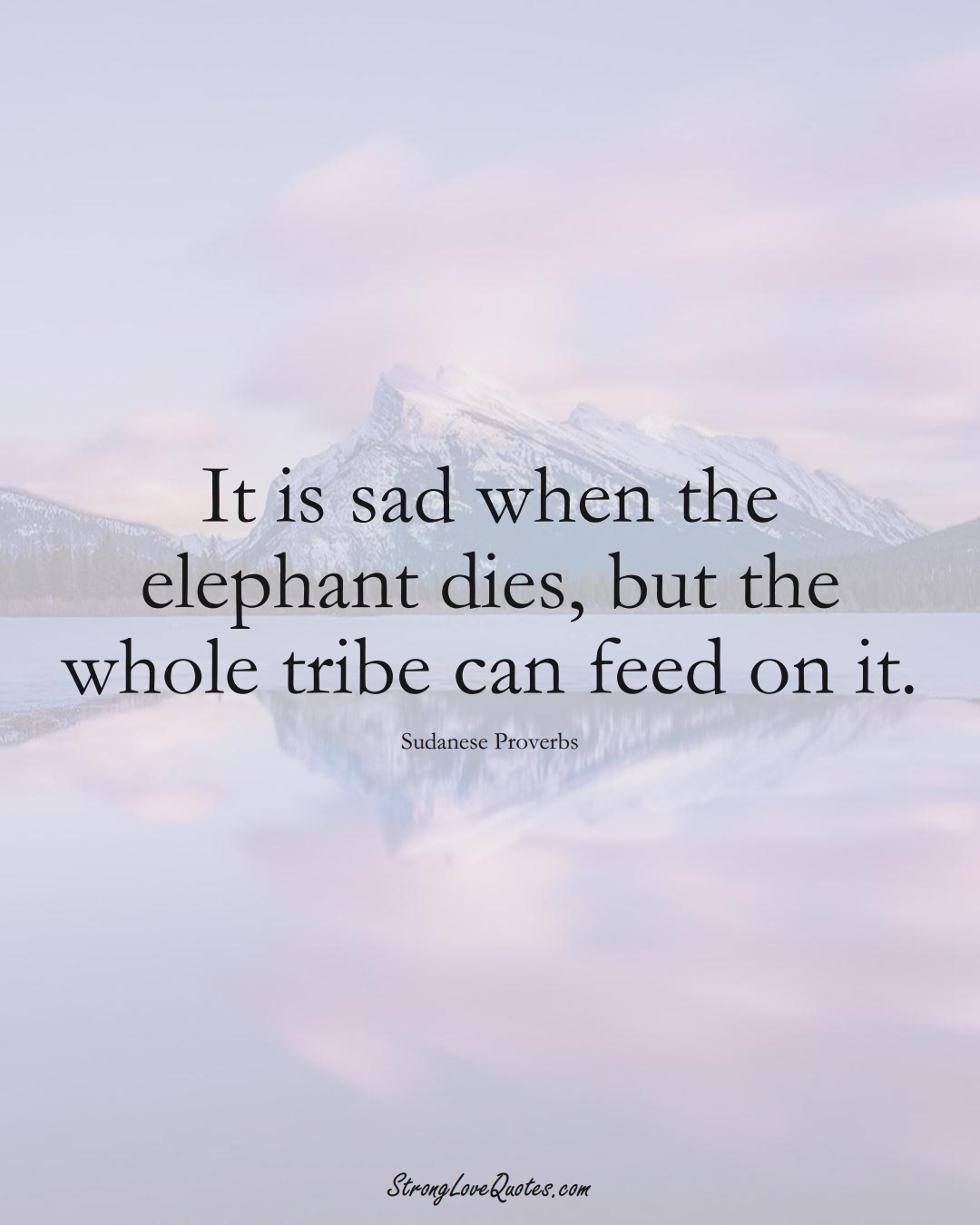 It is sad when the elephant dies, but the whole tribe can feed on it. (Sudanese Sayings);  #AfricanSayings