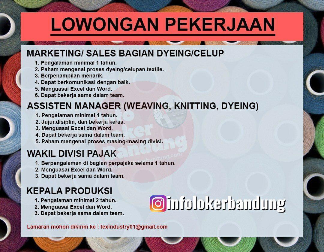 Dicari Staff Untuk Pabrik Textile Bandung November 2019 Info