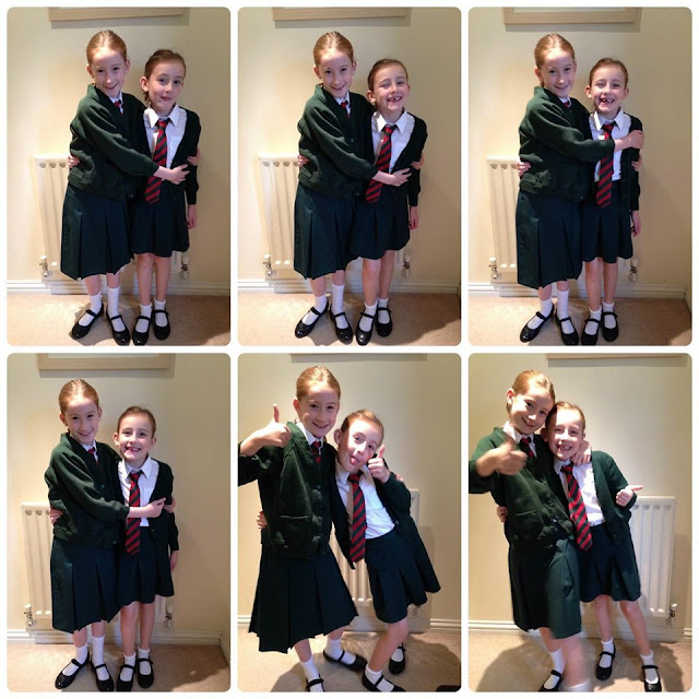Stephs Two Girls posing for a back to school photo six years ago