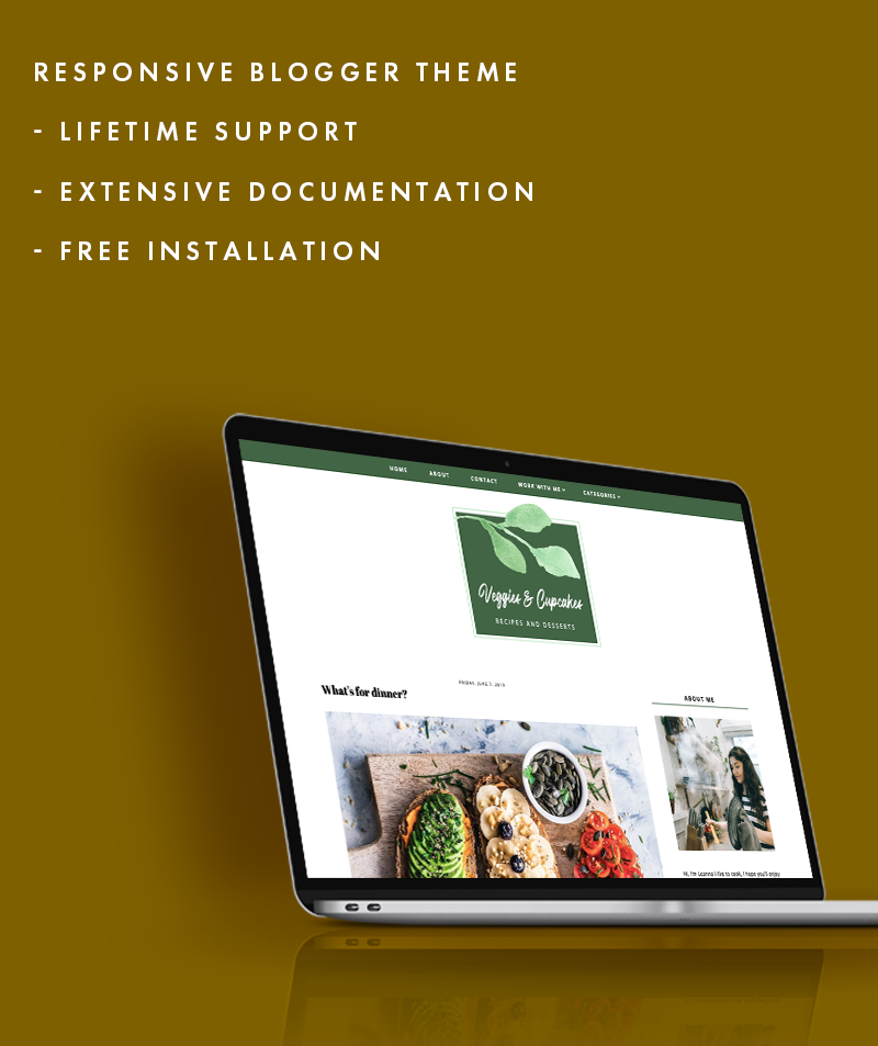 Free installation for veggies and cupcake blogger template