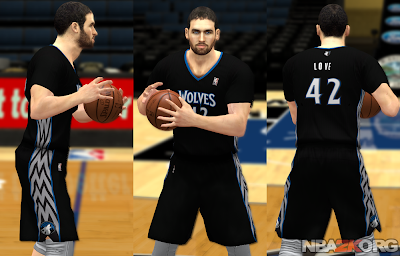 NBA 2K14 T'Wolves Black Sleeved Jersey