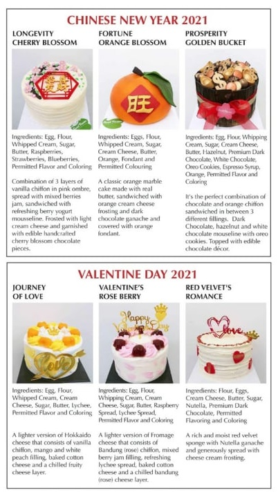 Sweet Passion Premium Cakes CNY 2021 & Valentine Day Collection
