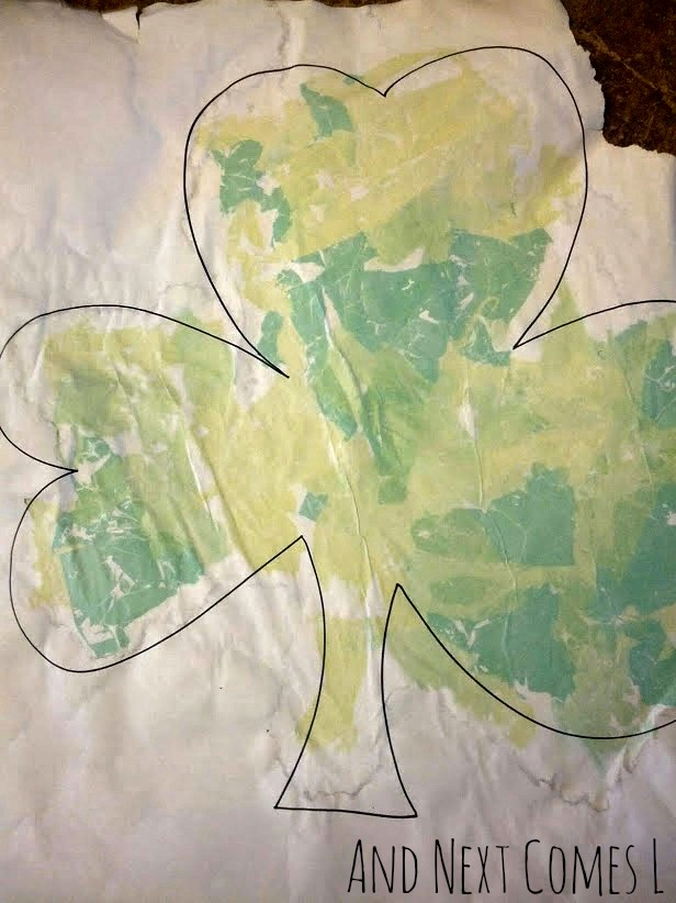 Shamrock bleeding tissue paper art for St. Patrick's Day from And Next Comes L
