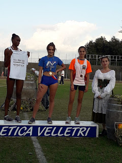 Il podio Provinciale dei mt 60 Ragazze con Gloria Kabangu e Giulia Buccella
