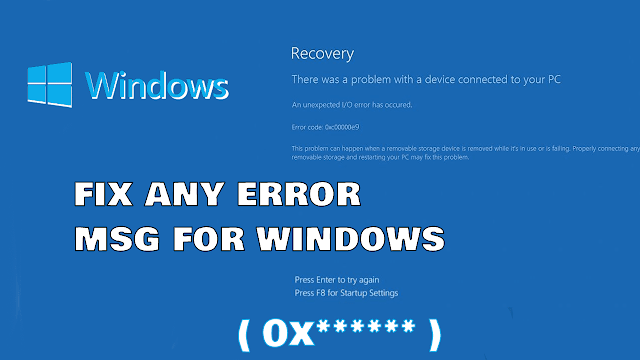 How To Fix ANY (error 0x******) windows xp/vist/7/8/8.1/10 new  Method (Solved ) for 2020