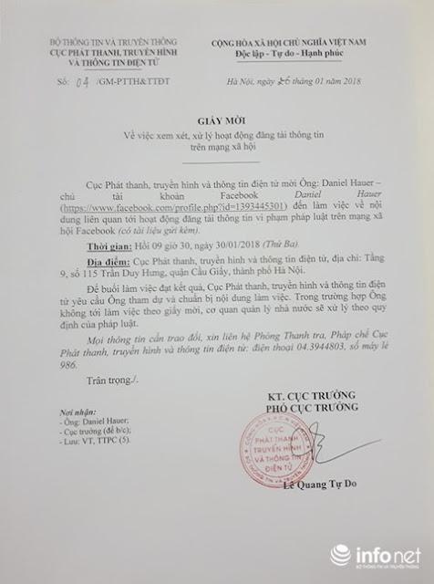 Đơn vị chức năng Bộ TTTT đã gửi giấy mời Daniel Hauer đến làm việc