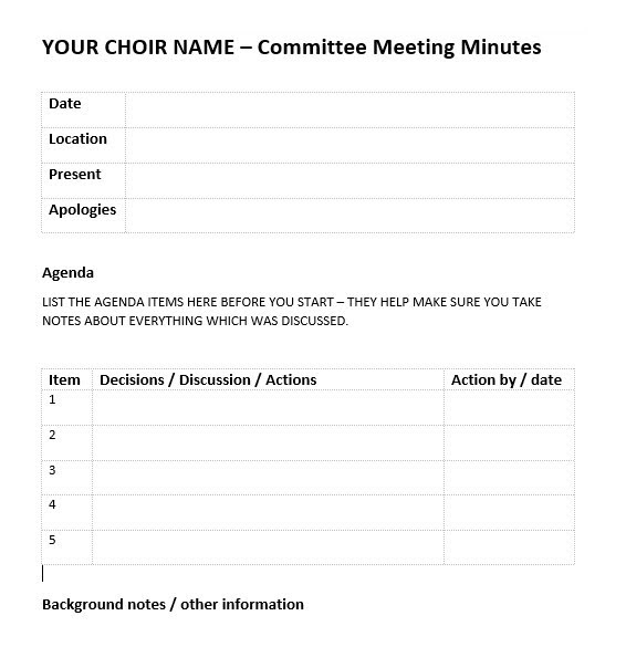Picture Of Meeting Notes / Minutes / Records / Decisions / Actions /  Tracking Sheet  Minutes Notes Template