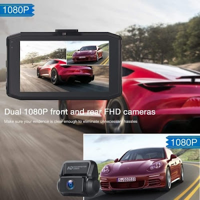 Campark Car FHD Front and Rear Dash Cam Camera