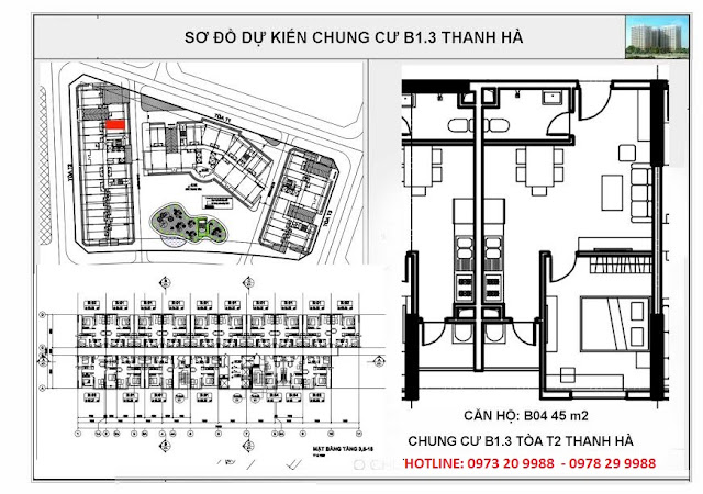 Sơ đồ mặt bằng chi tiết căn hộ B04 tòa T2 chung cư b1.3 Thanh Hà