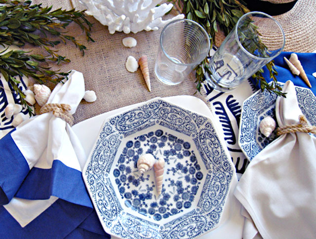 vintage blue and white china, DIY rope napkin rings