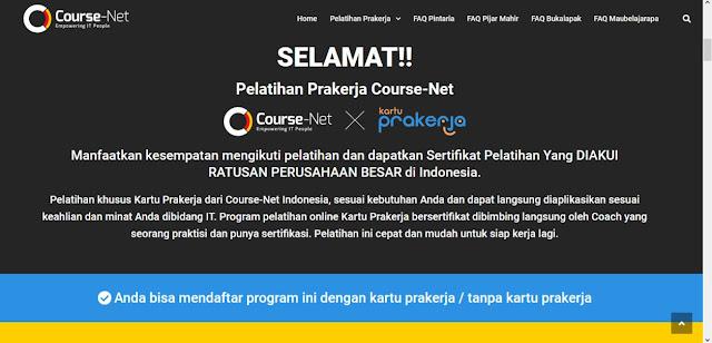 pelatihan prakerja course net indonesia