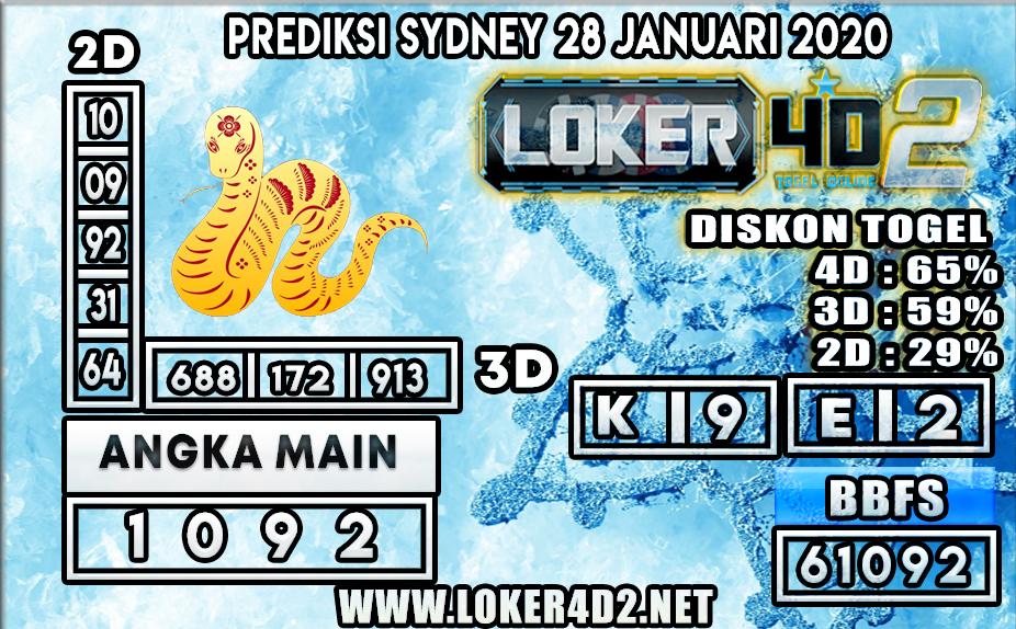 PREDIKSI TOGEL SYDNEY LOKER4D2 28 JANUARI 2020
