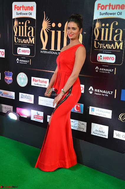 Meenakshi Dixit in Red One Shoulder Red Zipped up gown at IIFA Utsavam Awards001.JPG