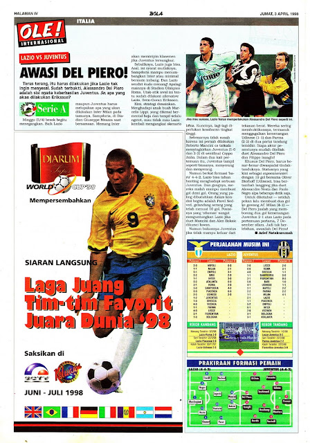 SERIE A 1998 LAZIO VS JUVENTUS ALESSANDRO DEL PIERO
