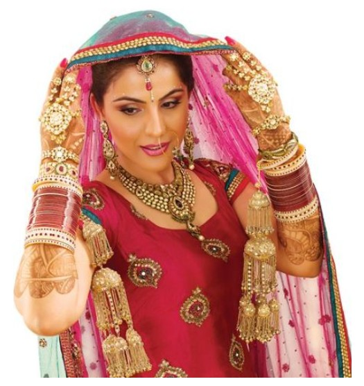 Traditional Punjabi Bridal Makeup and Hair Style