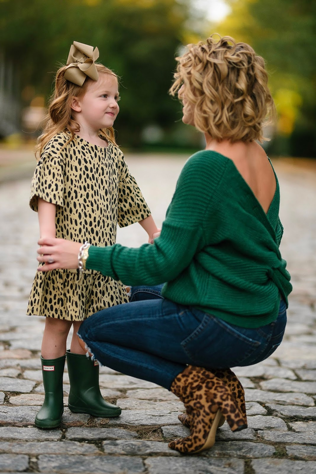 Mommy and me in leopard and green for fall - Something Delightful Blog