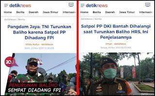 Satpol PP DKI Bantah Dihalangi FPl saat Turunkan Baliho HRS