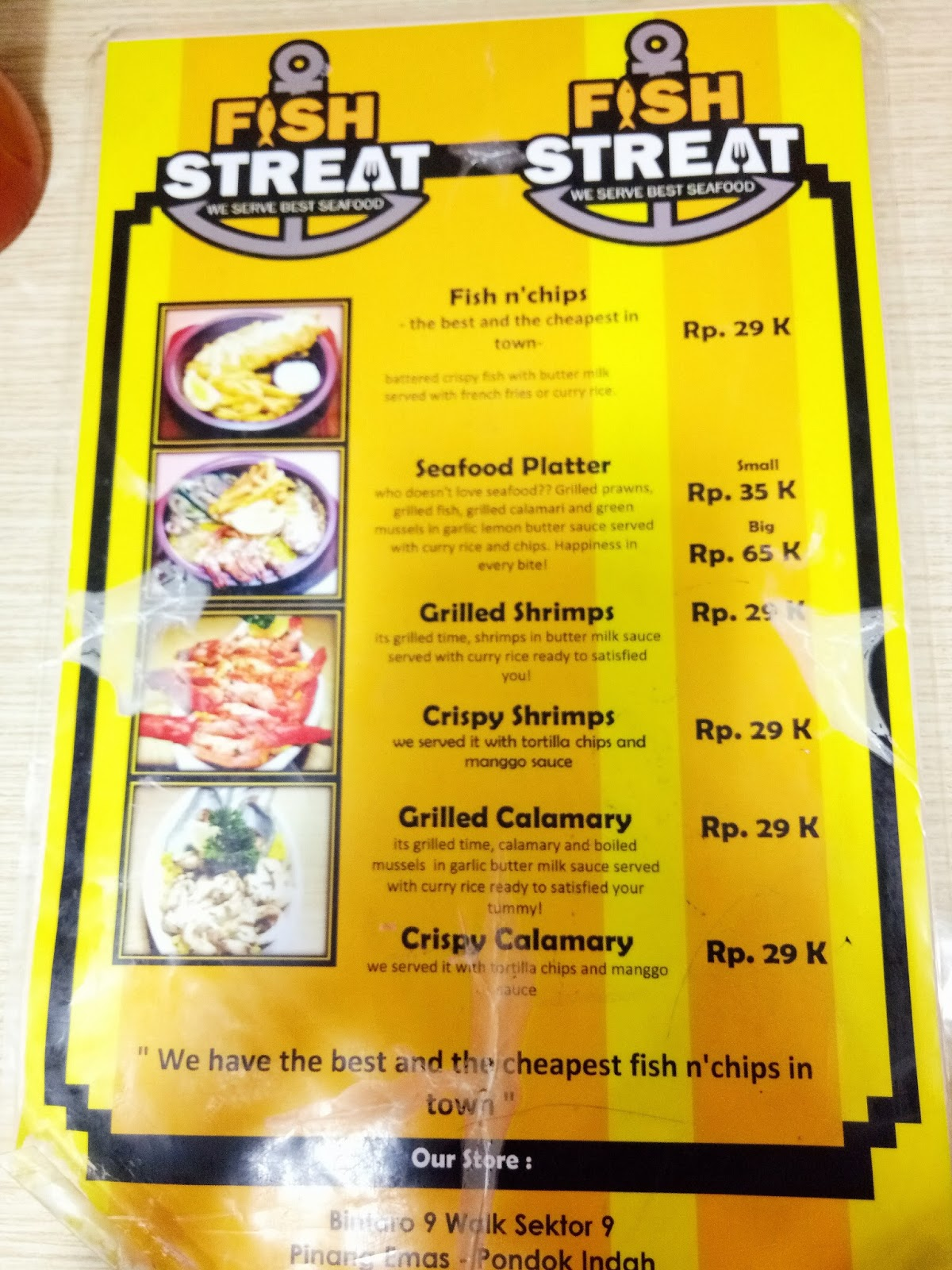Sekarayumi review fish streat karena enak ga mesti di mall for Little fish menu