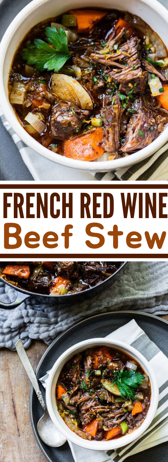 Slow-Cooked French Beef Stew with Red Wine #weeknight #dinner #slowcooker #recipes #beef
