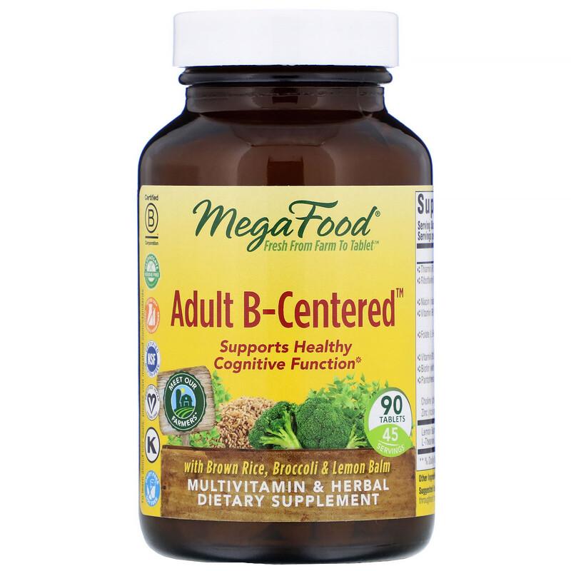 MegaFood, Взрослый B-основанный, мультивитаминный комплекс с травами, 90 таблеток
