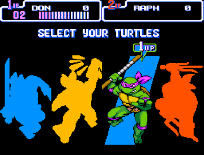 selecao personagens turtles in time