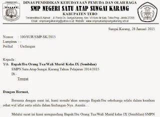 Download Format Surat Undangan Rapat Orang Tua Wali Murid