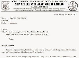 Download Format Surat Undangan Rapat Orang Tua Wali Murid Salam