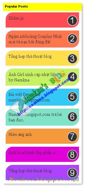 Multi Color Popular Posts count ves 3