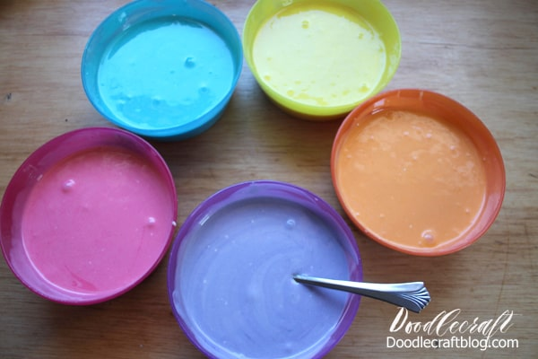 Color cake mix with food coloring gel for the perfect layered rainbow cake.