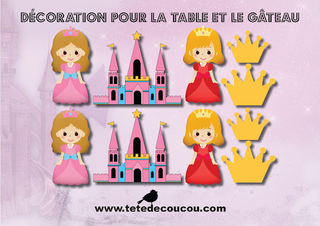 Décoration Kit anniversaire personnalisé princesse fille rose à imprimer tête de coucou