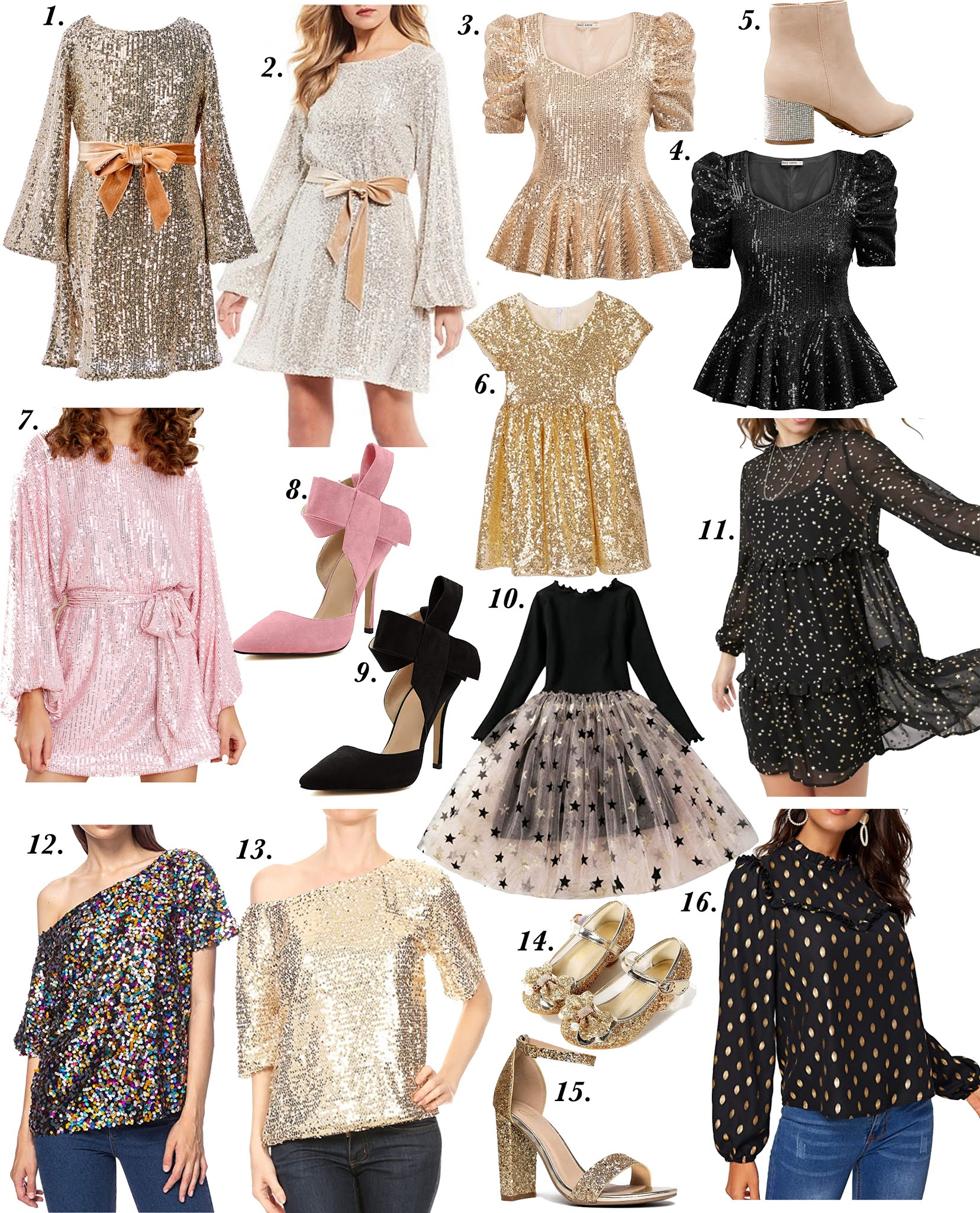 New Years Eve Outfit Inspiration: Sparkle in 2021 - Something Delightful Blog #NYEOutfitInspo #sparkles #sequinoutfits #mommyandme