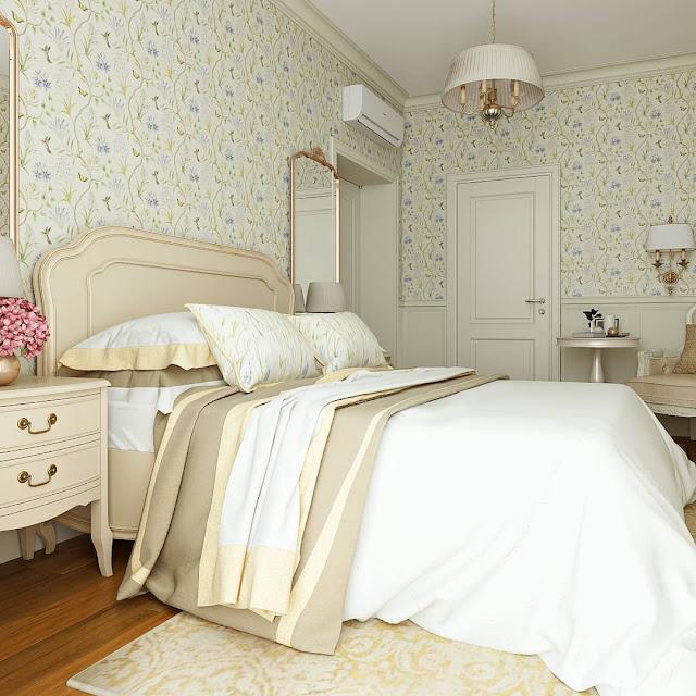 Wallpaper Dinding Kamar Tidur Minimalis Putih Elegan