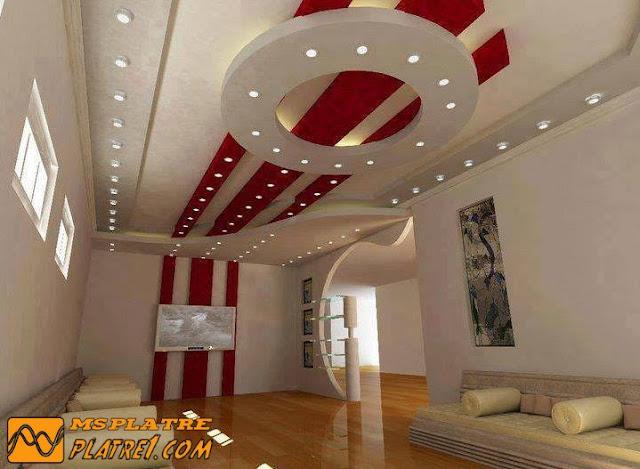 Faux plafond pour le salon en platre moderne