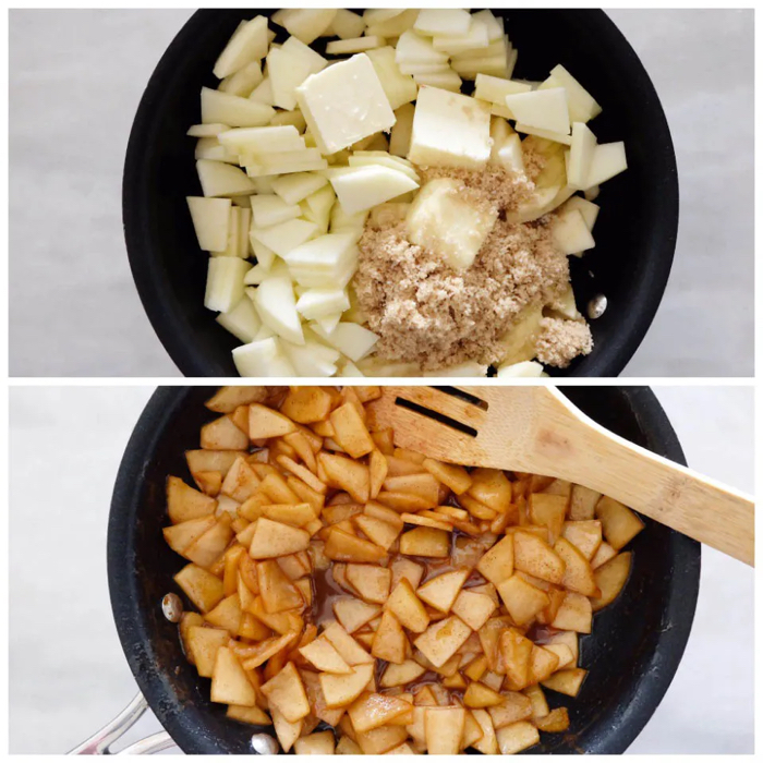 sauteed apples before and after