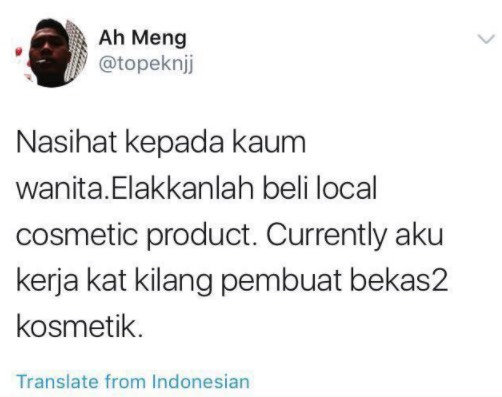 Elakkan Beli Local Cosmetic Product