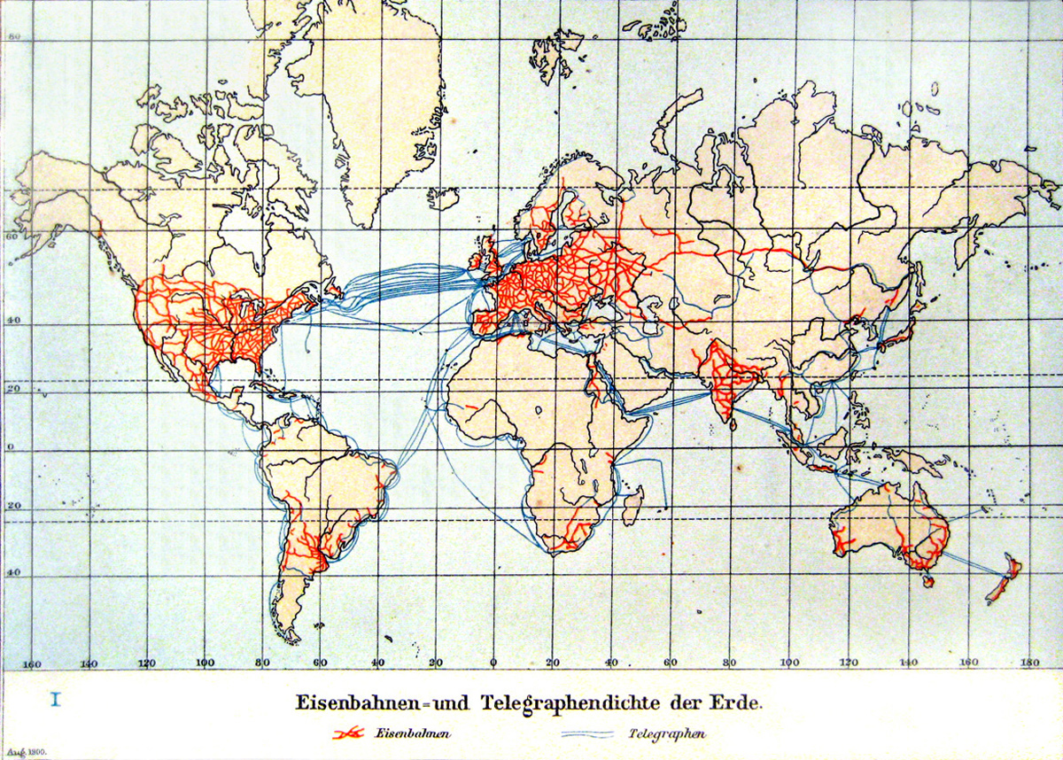 weltkarte 1900 Weltkarte – Eisenbahnen  und Telegraphendichte (1900)   Weltatlas weltkarte 1900