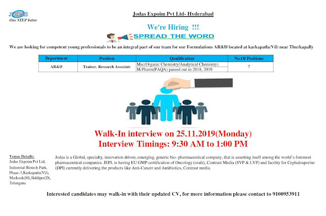 Jodas Expoim Walk-in interview for M.Sc & M.Pharm Freshers - AR&D on 25th Nov' 2019