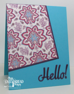 ODBD Custom Hello Die, ODBD Custom Pierced Rectangles Dies, ODBD Beautiful Boho Paper Collection, Card Designer Angie Crockett