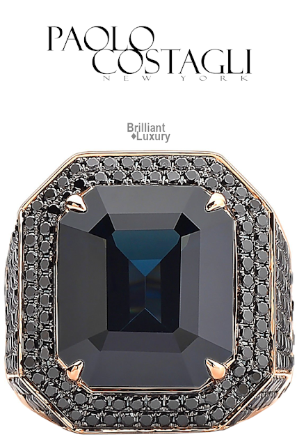 Brilliant Luxury♦Paolo Costagli 18ct Rose Gold Black Spinel and Black Diamond Ring