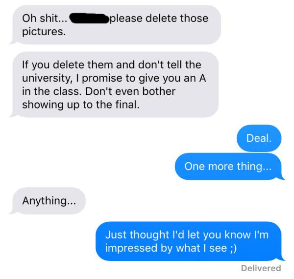 Maestra envió fotos sensuales a su alumno, por equivocación