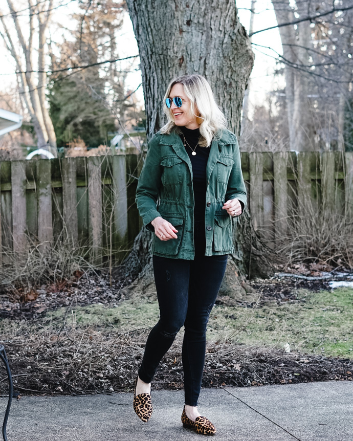 green utility jacket outfit