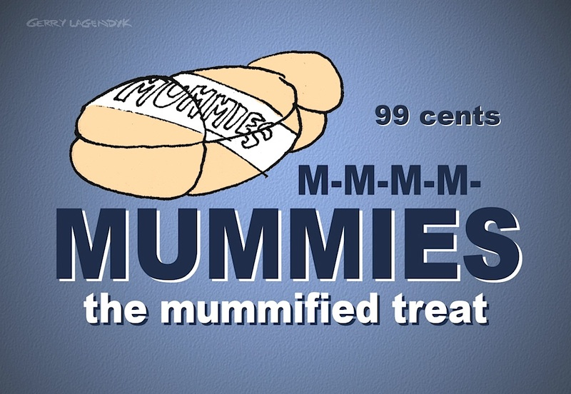 Mummies the Mummified Treat, cartoon ad parody
