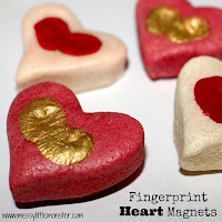 valentines day craft ideas for kids:  fingerprint heart magnet