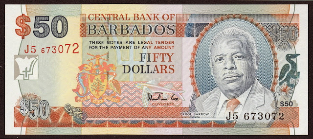 Barbados Banknotes 50 Dollars banknote 1998 Errol Barrow, first Prime Minister of Barbados