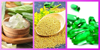 Aloe vera gel & mustard seeds & vitamin E capsules