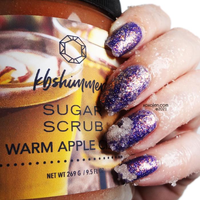 xoxoJen's swatch of KBShimmer Warm Apple Cider scrub
