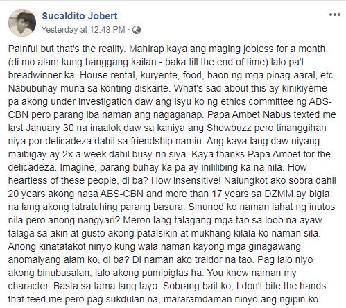 Jobert Sucaldito on indefinite suspension without pay for remarks against Nadine Lustre