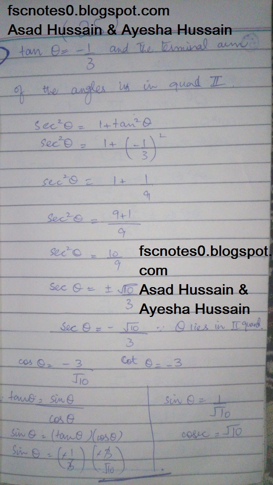 FSc ICS FA Notes Math Part 1 Chapter 9 Fundamentals of Trigonometry Exercise 9.2 Question 4 by Asad Hussain & Ayesha Hussain 2