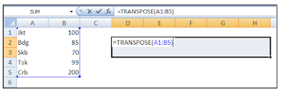TRanspose function in excel